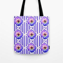STRIPED PURPLE PATTERNED LILAC PURPLE-WHITE DAHLIA GARDEN  FLOWERS GARDEN ART Tote Bag
