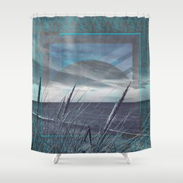 Before the Storm - blue graphic Shower Curtain