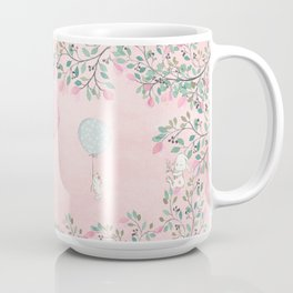 Cute flying Bunny with Balloon and Flower Rabbit Animal on pink floral background Coffee Mug