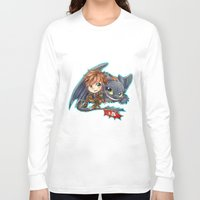 hiccup Long Sleeve T-shirts featuring Httyd 2 - Chibi Hiccup and Toothless by ibahibut