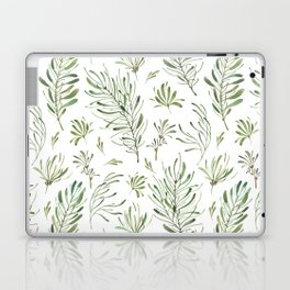 Hand painted forest green white watercolor leaves floral Laptop & iPad Skin