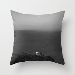 Cliff on the Ocean (Black and White) Throw Pillow