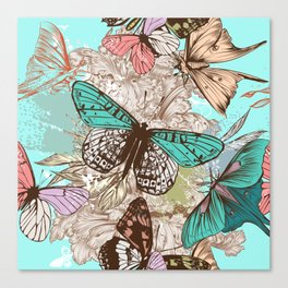 Beautiful print with hand drawn butterflies in vintage style Canvas Print