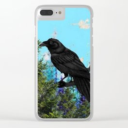 CROW &  Mountain Landscape Pines In Blue-Greens Clear iPhone Case