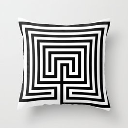 Cretan labyrinth in black and white Throw Pillow