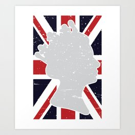 Union Jack Faded Flag Queen Art Print