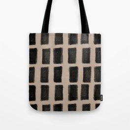 Brush Strokes Vertical Lines Black on Nude Tote Bag