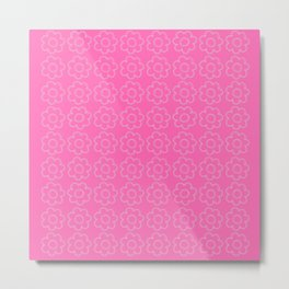 Beauty Powder Puff Pink - Light Stitched Flowers Metal Print