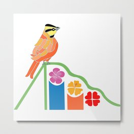 Bird on a slide Metal Print