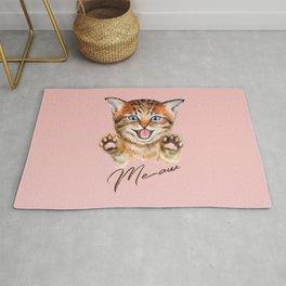 Watercolour meaw kitten Rug