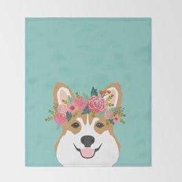 Corgi Portrait - dog with flower crown cute corgi dog art print Throw Blanket