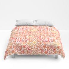 Oriental Watercolor ornament pattern yellow orange Comforters