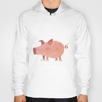 pig Hoodies featuring Pig by Michelle McGaughey