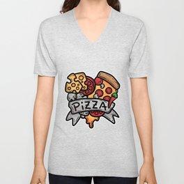 Heart Pizza Love Italy Salami cheese gift Unisex V-Neck
