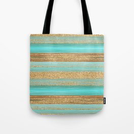 Turquoise Brown Faux Gold Glitter Stripes Pattern Tote Bag