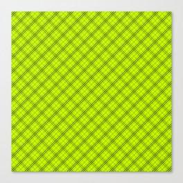Slime Green and Black Halloween Tartan Check Plaid Canvas Print