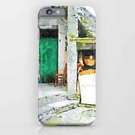 Green door with chair iPhone Case