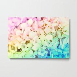 Pastel Rainbow Flowers Metal Print