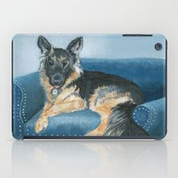 german shepherd iPad Cases featuring German Shepherd Angus by Yvonne Carter
