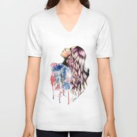 vogue V-neck T-shirts featuring Teen Vogue by Tiko Meow