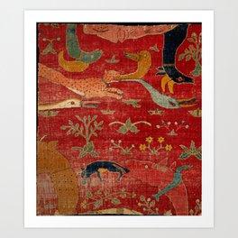 Animal Grotesques Mughal Carpet Fragment Digital Painting Art Print