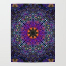 Mandala Glitch Stained Glass Poster