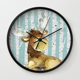 Winter Woodland Friends Deer Moose Snowy Forest Illustration Wall Clock