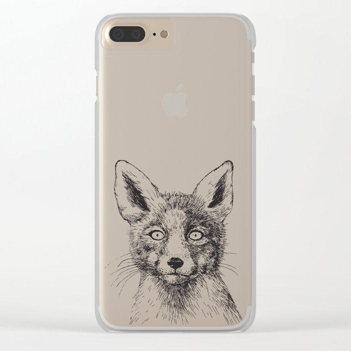 Fox portrait, ink drawing Clear iPhone Case