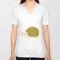 hedgehog V-neck T-shirts featuring Hedgehog by Maria Ángeles Aznar Medina (Nenya-Art)