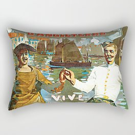 France to England, Brest to London vintage travel ad Rectangular Pillow
