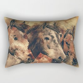Galloping Wild Mustang Horses Rectangular Pillow