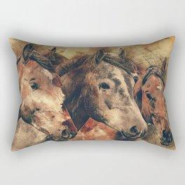 Galloping Wild Mustang Horses Rectangular Pillow
