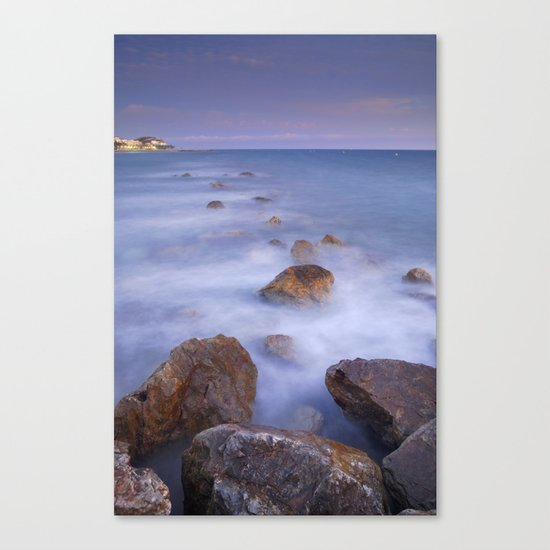 Blue sunset at the rocks Canvas Print