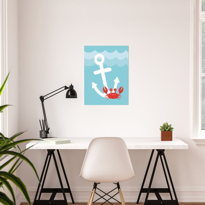 Anchor's Away Crab Poster