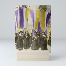 Feb 1917: On their day off, Working Women protest in front of White House for the right to vote Mini Art Print