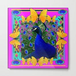 Cerise Wildlife Art Blue Peacock & Yellow Butterflies Art Metal Print