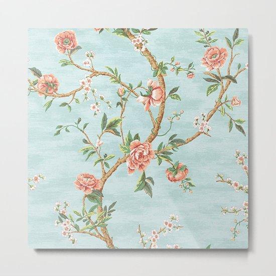 Rose bushes have thorns -Roses Flowers Floral Vintage Retro on Aqua #Society6 Metal Print