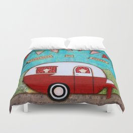 Vintage Camper Red Duvet Cover