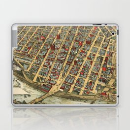 Vintage Pictorial Map of Minneapolis MN (1891) Laptop & iPad Skin