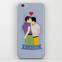 klaine iPhone & iPod Skins featuring Klaine Kissing by byebyesally