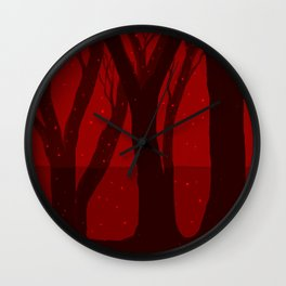 Magical Forest in RED Wall Clock