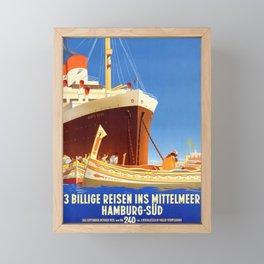 Santa Rosa - Vintage German Passenger ship poster Framed Mini Art Print