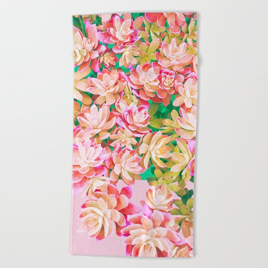Cactus Fall - Pink and Green Beach Towel