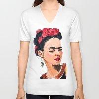frida V-neck T-shirts featuring Frida by Jaleesa McLean