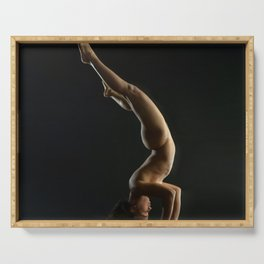 5137s-NLJ Beautiful Woman Nude Headstand Warm Dark Skin Centered Yoga Serving Tray