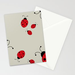 Ladybugs-Beige+Red Stationery Cards