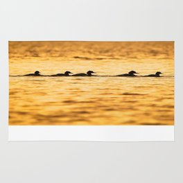 Birds Swimming At Sunset Reflection On The Lake #decor #society6 Rug