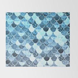 REALLY MERMAID SILVER BLUE Throw Blanket