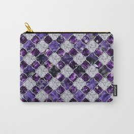 Oriental Pattern with Amethyst Clusters and silver Carry-All Pouch
