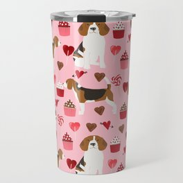 Beagle valentines day cupcakes heart love dog breed must have gifts Travel Mug